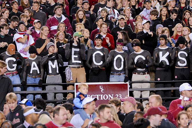 South Carolina fans proudly displayed their Gamecock pride during a game against Tennessee last October.