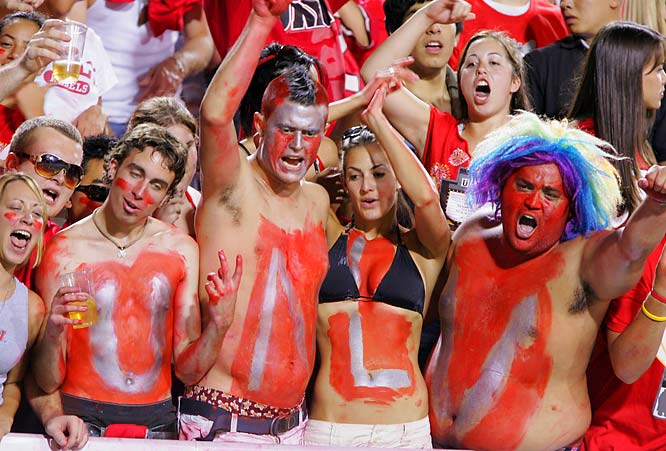 "Of these four UNLV fans, we think the ""V"" would be most fun to party with."