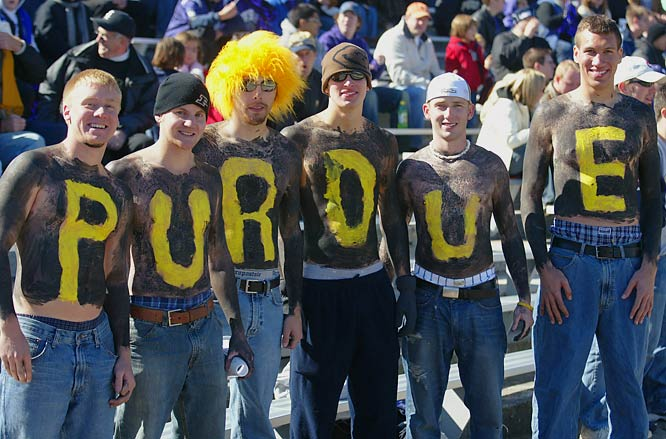 These Purdue fans were are all smiles while watching the Boilermakers take on Northwestern in Evanston last October.