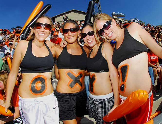 No, these fans weren't rooting for a pimple-fighting medicine. Instead, they were cheering on their Occidental College Tigers during a game against Pomona-Pitzer last October.