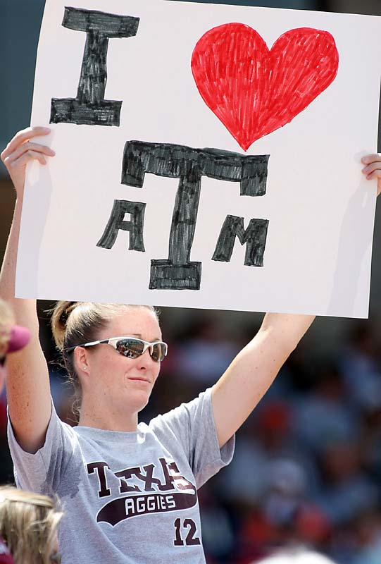This Aggie fan showed her love for Texas A&M during the Women's College World Series.