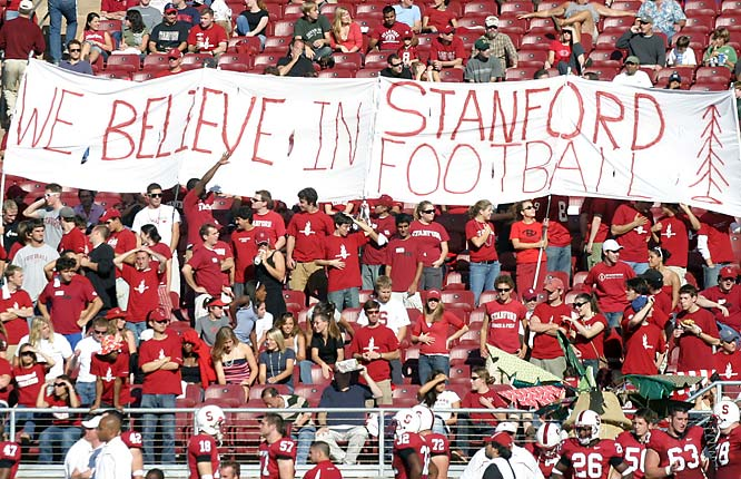 As this sign indicates, Jim Harbaugh isn't the only person who believes in Stanford football.
