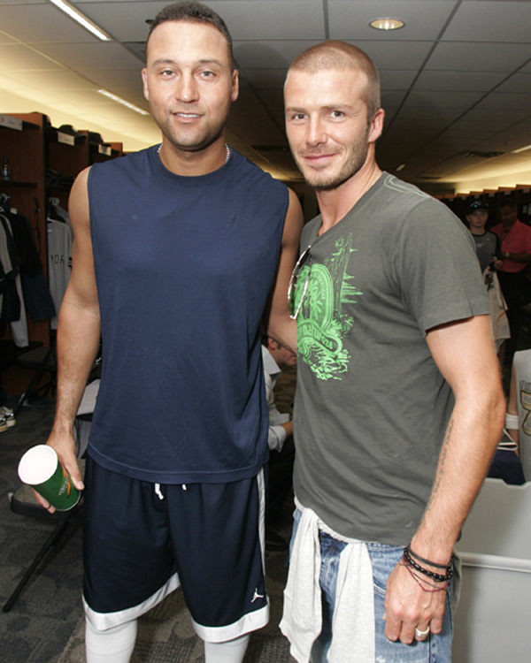 In Toronto on Monday, David Beckham visited with several members of the Yankees, including Derek Jeter ...