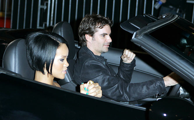 "We won't take the easy route and make a ""Shut Up and Drive"" joke about Rihanna and Jeff Gordon, who arrived together at California Speedway's NASCAR party."