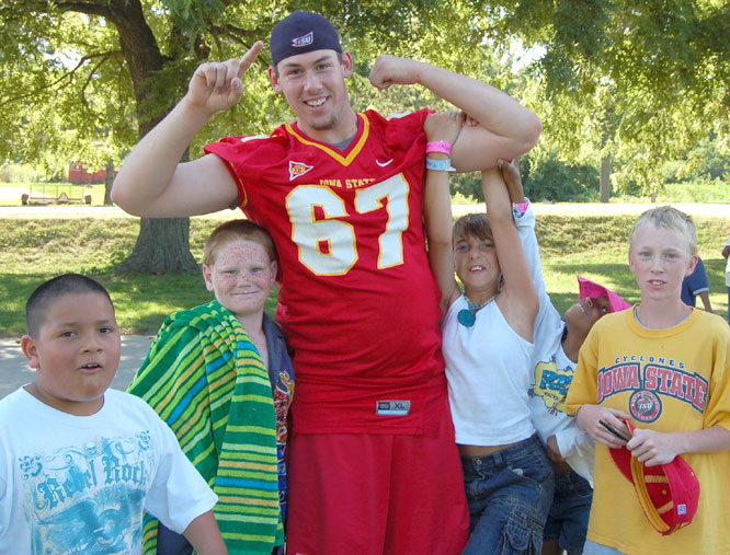 Iowa State offensive lineman Matt Hulbert was among the Cyclones who spent time at Wildwood Hills Ranch with underprivileged children.