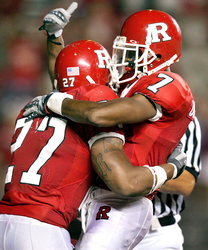 Ray Rice (left) ran for 184 yards and three touchdowns, while Tiquan Underwood caught 10 balls for a school-record 248 yards and two touchdowns in the win over Buffalo.