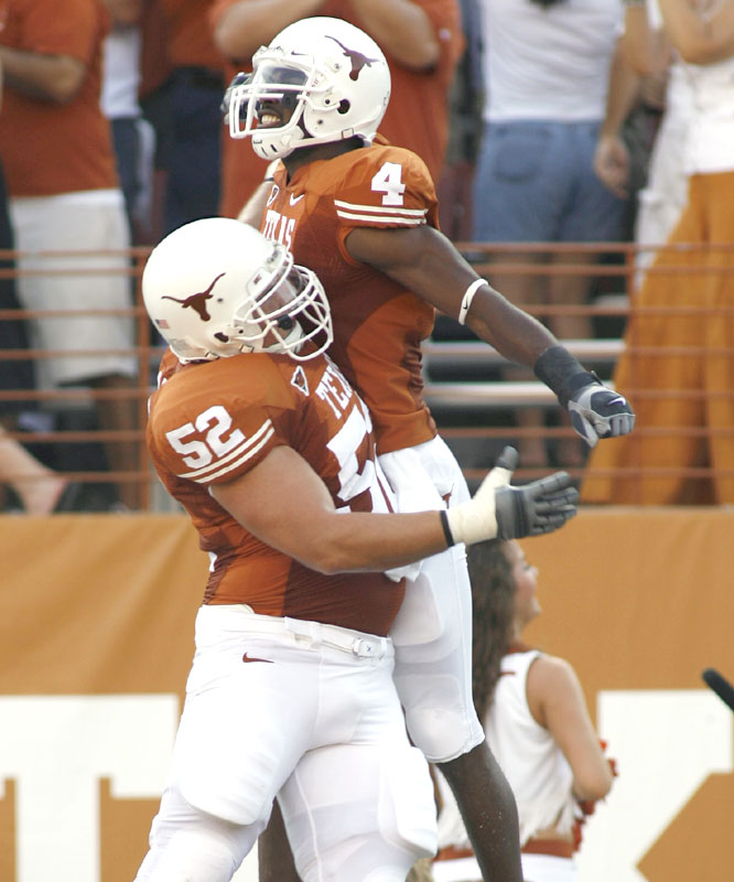 Lima Sweed (4) had 93 receiving yards, including a 35-yard touchdown, as the Longhorns avoided a scare from Arkansas State.