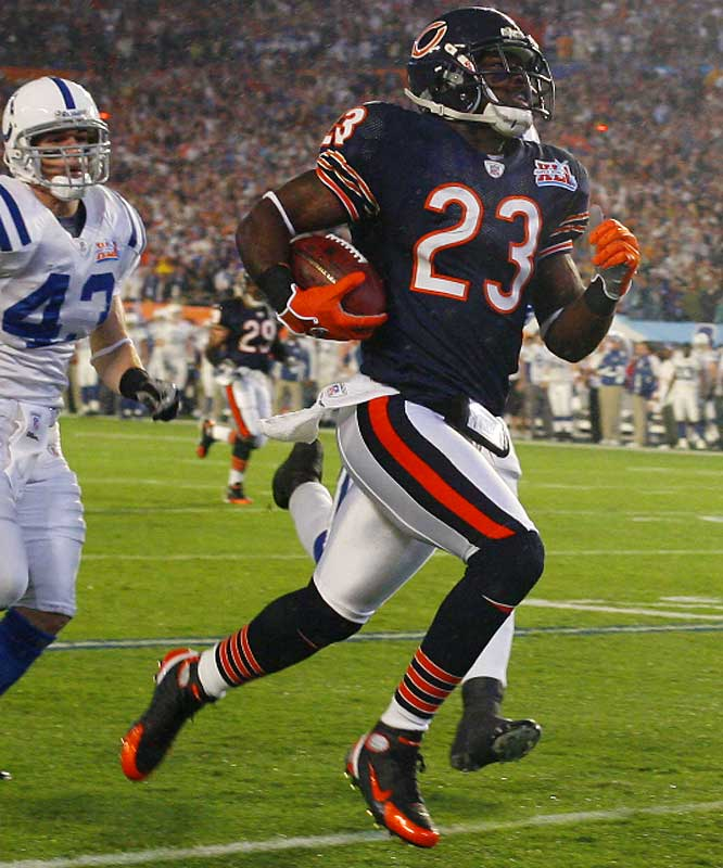 Known as the NFL's hottest kick returner, Hester (who will assume a greater role in the Bears' offense this season) holds the league record for kick-return TDs in one game (two vs. St. Louis in '06) and is the only player to open a Super Bowl (XLI) with a return touchdown.