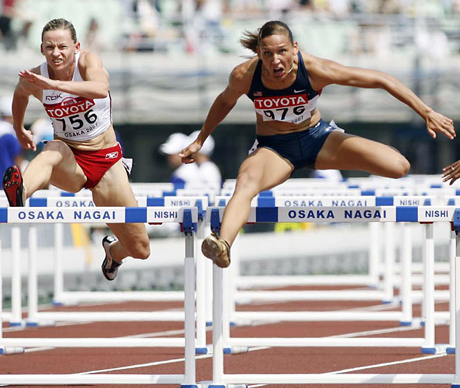 USA's LoLo Jones (976) during the 100 meter hurdles qualifying on Day 3.