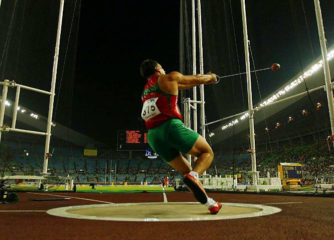Ivan Tsikhan of Belarus won the hammer throw on Day 3.
