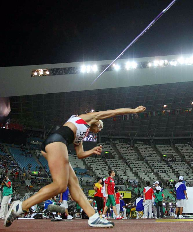 Germany's Jennifer Oeser during the javelin portion of the heptathlon on Day 2.