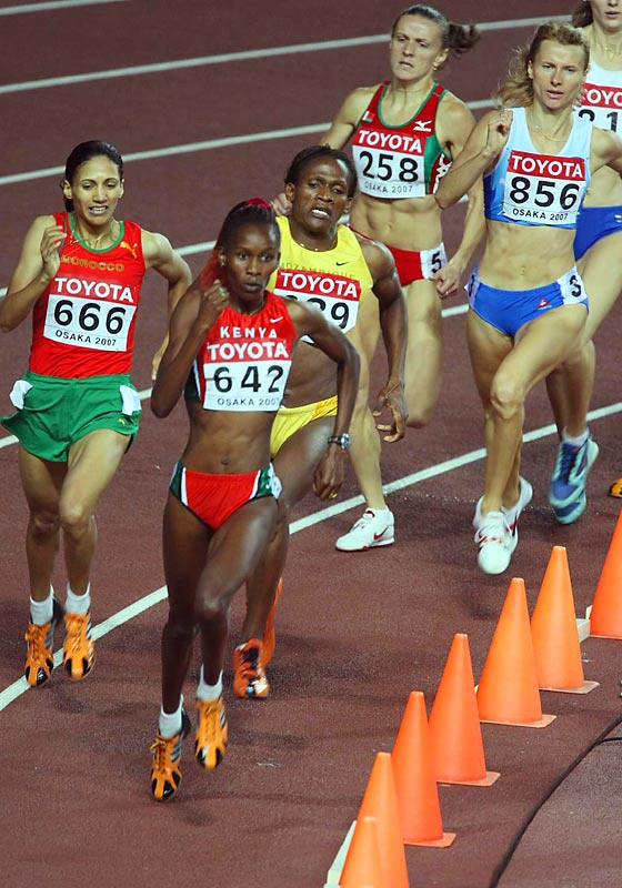 Janeth Jepkosgei led the pack from gun to tape in the 800 final.