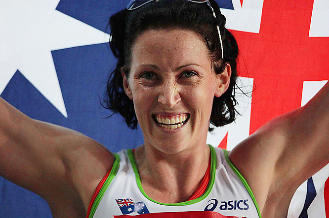 Australia's Jana Rawlinson won her second 400-m hurdles world championships gold medal -- eight months after giving birth.