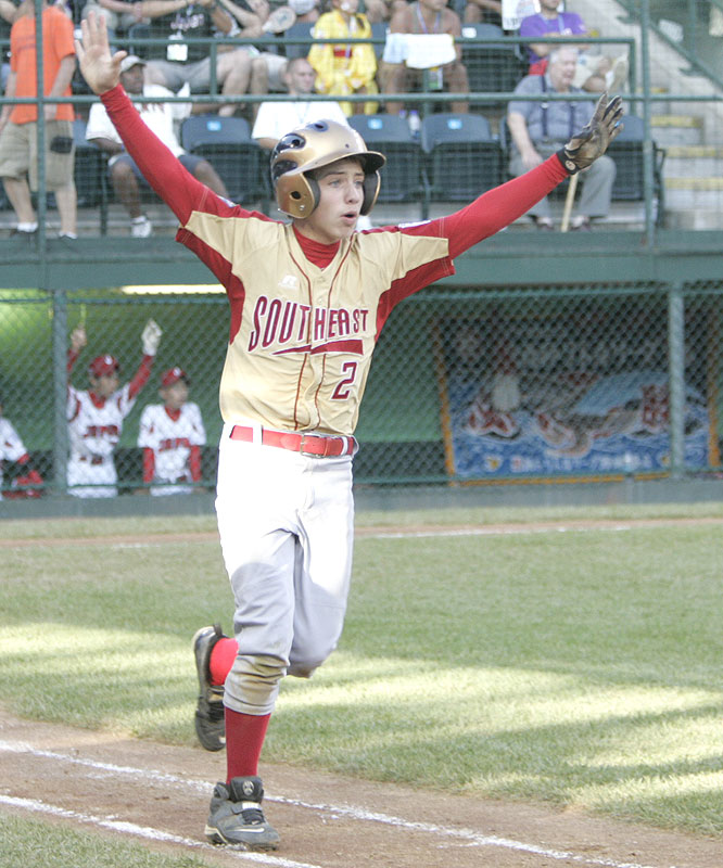 With the game tied 2-2 in the bottom of the eighth, Dalton Carriker, who was 0-for-2 with a walk in the game, sent a 2-1 pitch over the right-field seats for his fourth home run of the Little League World Series.