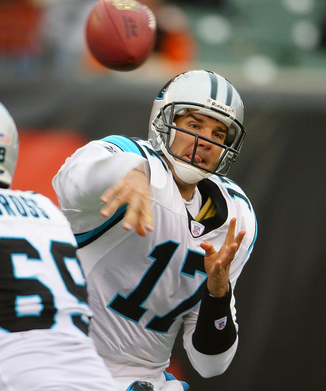 Delhomme has had a rough time since leading the Panthers to the Super Bowl three years ago. Now he has to look over his shoulder at David Carr. If Delhomme struggles, coach John Fox, who is also on the hot seat, could make a QB switch to try to save his job.