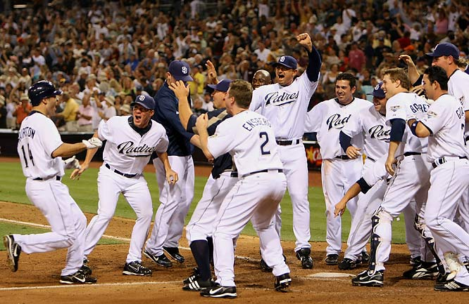 The Padres welcome Scott Hairston after his walk off home run in the 10th won the game 4-3 against the Giants at PETCO Park on Aug. 3.