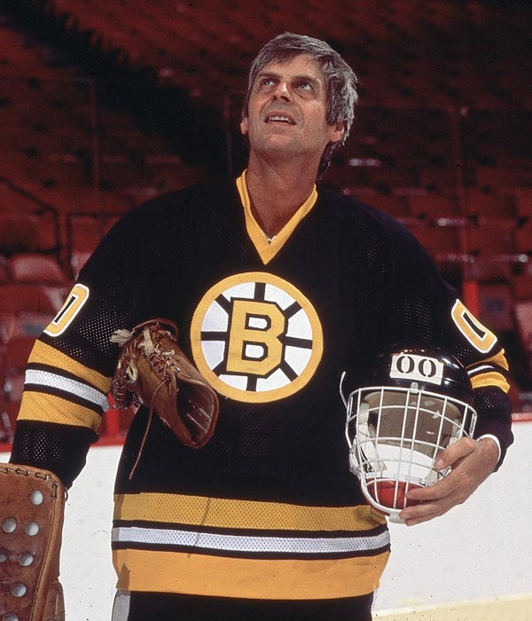 Plimpton played goalie for the Boston Bruins in 1977.