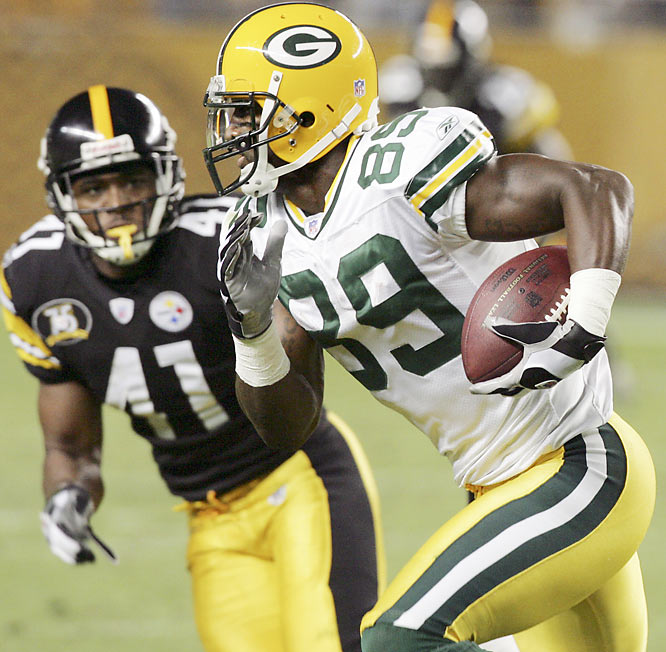 With his 10 catches for 116 yards and two touchdowns, this rookie could supplant Greg Jennings as the Packers' No. 2 wideout behind Donald Driver. He has quickly become a preferred target for both Brett Favre and backup Aaron Rodgers.