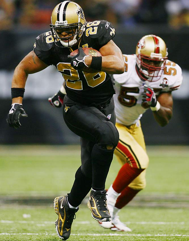 Deuce McAllister ran for 136 yards in a 34-10 win over the 49ers.