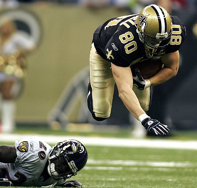 Tight end Mark Campbell dives for a first down, but the Saints still lost to the Ravens, 35-22.