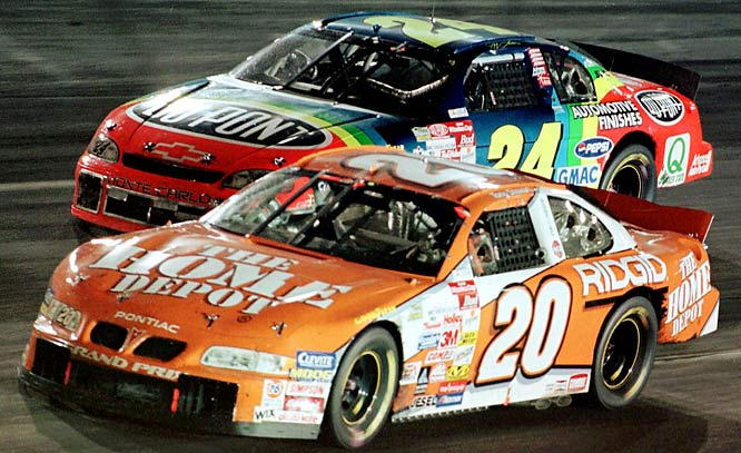 After several close calls during his rookie season, Stewart finally won for the first time in the Cup Series, at Rockingham. The first driver to win a race as a rookie since Davey Allison in 1987, Stewart won two more events - Phoenix and Homestead - en route to finishing 4th in the final standings and earning Rookie Of The Year honors.