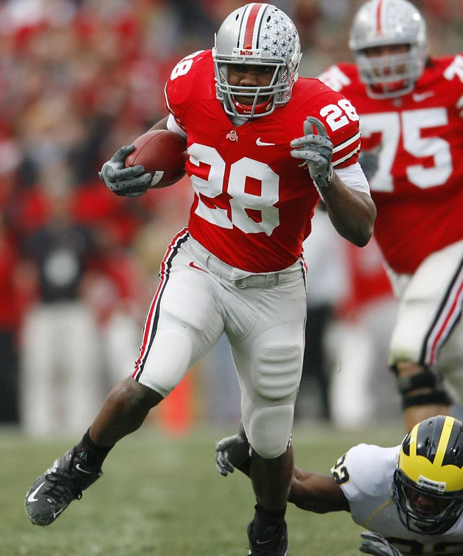 """Antonio Pittman left early for the NFL, meaning """"Beanie"""" has the full workload in 2007. With Ohio State's question mark at quarterback, you can be sure Jim Tressel's offense will ride this talented sophomore."""
