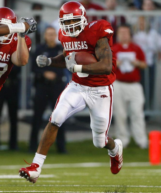 Last year's Heisman runner-up enters the '07 campaign as the favorite to take home the stiff-armed statue. During his first two seasons in Fayetteville, McFadden has rushed for 2,760 yards and 25 touchdowns, earning first-team All-SEC honors both years. With his 6-foot-2, 205-pound frame and excellent speed, McFadden is the complete package.