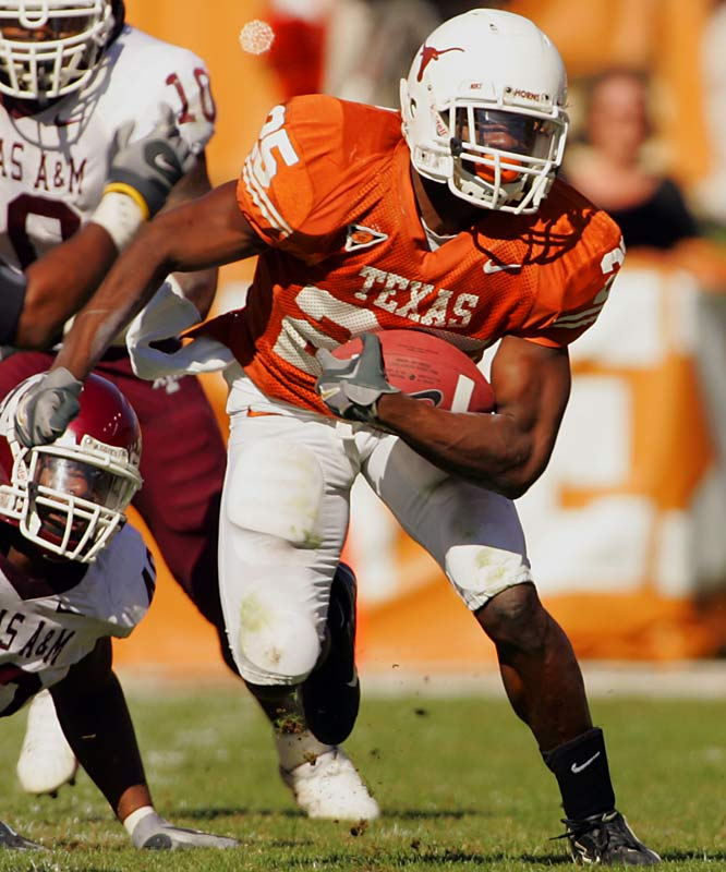 With the departure of Selvin Young, Jamaal Charles has the role of Texas RB all to himself. Although last year was a bit of a letdown -- though he still rushed for 870 yards and seven touchdowns -- Charles should flourish in a ridiculously talented 'Horns offense.