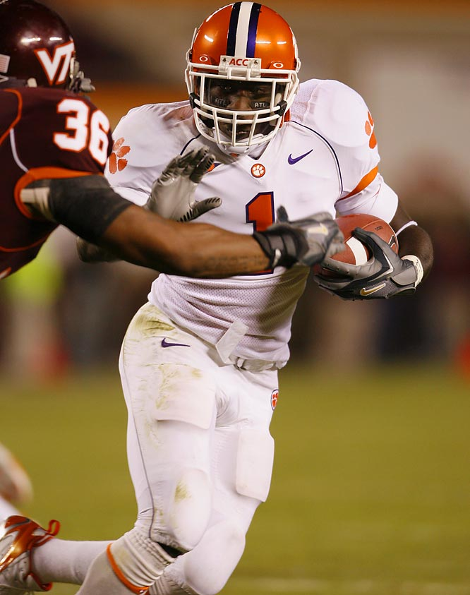 """With his bruising style, Davis is the """"thunder"""" element of Clemson's """"thunder and lightning"""" backfield. Clemson's starter last season led the ACC with 17 rushing touchdowns."""