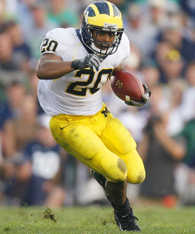 Hart's style is far from flashy, but his workhorse mentality suits Michigan just fine. The diminutive bruiser has posted 19 100-yard games over three seasons, eclipsing 90 yards in every game last season. He's also one of the most dependable backs in history, having lost just one fumble in his career (as a freshman).