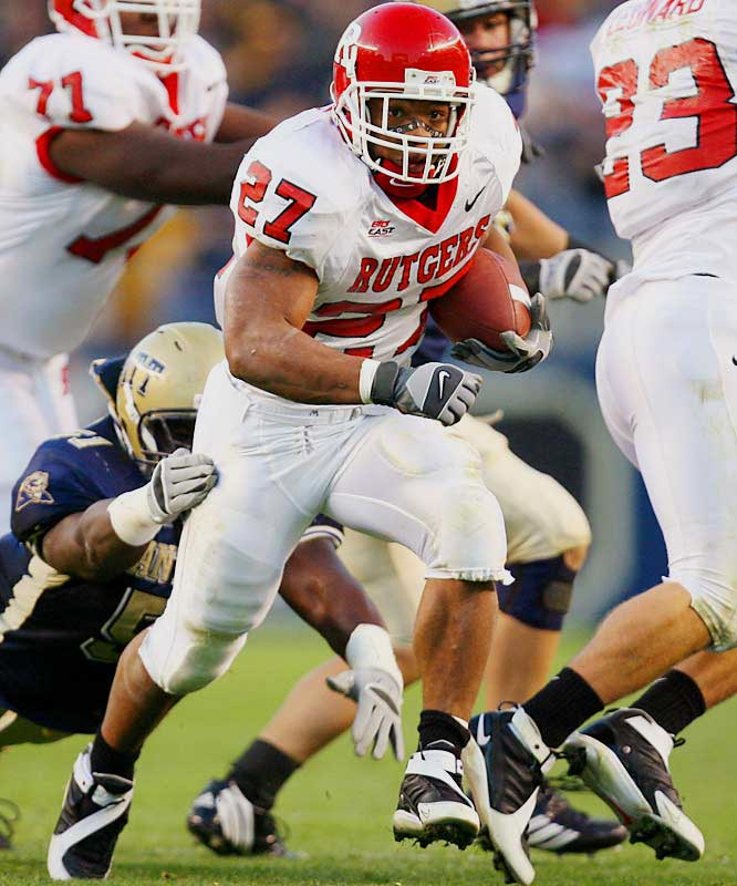 As a freshman in 2005, Rice quietly ran for 1,120 yards. But his efforts didn't go unnoticed for long. Last season, Rutgers burst onto the national scene with Rice as its centerpiece. The sophomore set a Big East record with 1,794 rushing yards, accumulating at least 170 yards in five separate games.