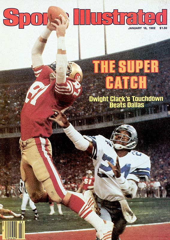 "With Bill Walsh calling ""Red Right Tight-Sprint Right Option,"" Dwight Clark hauls in a pass from Joe Montana for the winning score in San Francisco's 28-27 victory in the NFC Championship Game. The play, famously captured by Sports Illustrated on its cover, is known simply as The Catch."