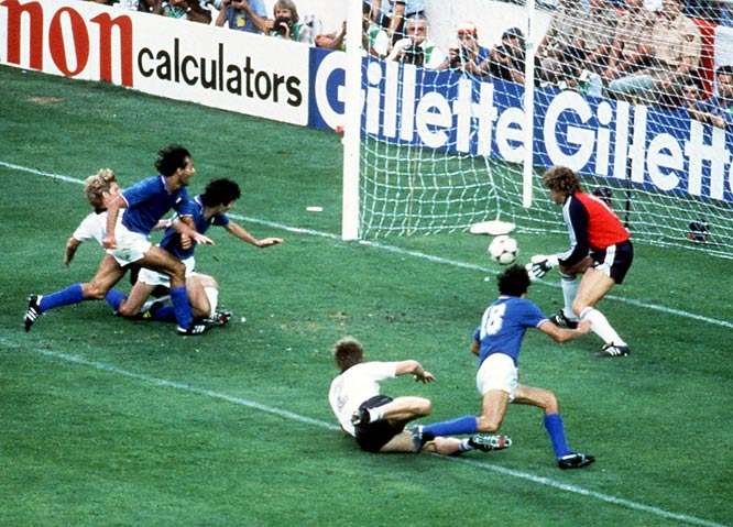 Hail to the Azzurri: Italy defeated West Germany 3-1 to win the World Cup on July 11, 1982. Paolo Rossi scored in the final -- he had six goals in the tournament, including a hat trick against Brazil in the quarterfinals --to win the Golden Boot award.