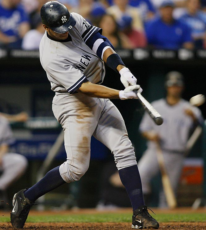A-Rod sparked the Yankees to a three-run rally in the sixth inning to break the game open on Saturday, hitting this solo shot off Brian Bannister to lead off the inning. New York cruised to an 11-5 win.