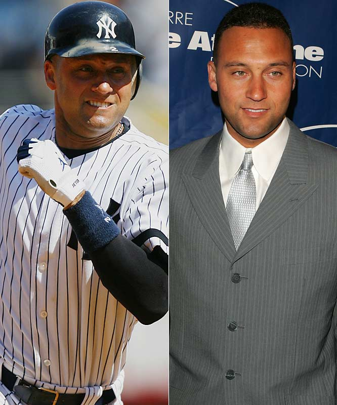 The captain and face of the Yankees looks great in -- what else? -- pinstripes. With his cohort on the left side of the infield, they're -- who else? -- the Brooks Brothers.