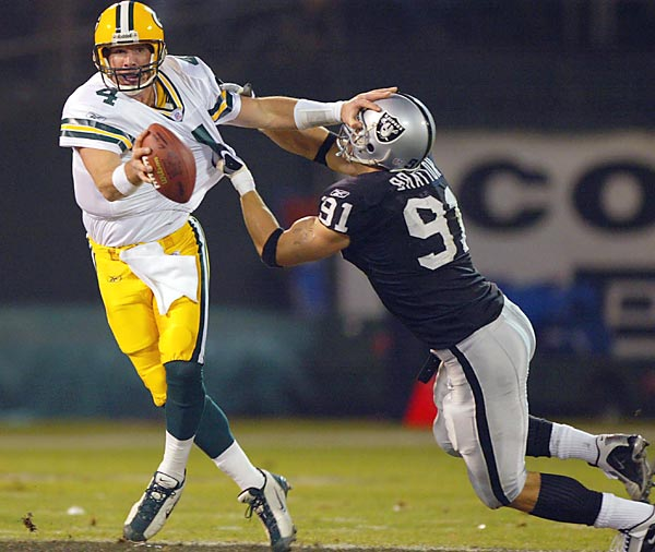Playing just one day after his father passed away, Favre lit up the Raiders for 399 passing yards and four touchdowns in a 41-7 victory on Monday Night Football. Favre was overcome with emotion, hugging teammates and shedding tears the entire night.