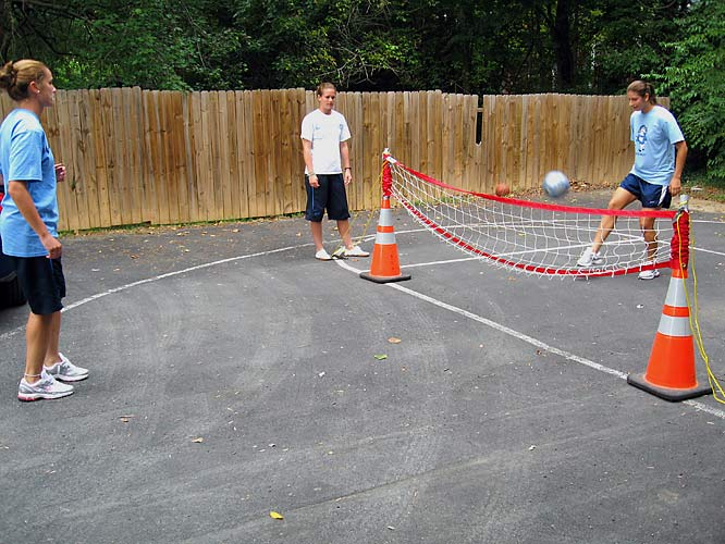"""No more dormitory """"balconies"""" or lame apartment porches.  We're talkin' a fully-paved basketball/tennis court with amenities to enjoy (and combine) a variety of sports.  Such as soccer-tennis.  No rackets.  No linesmen. Just feet. And the ability to juggle a soccer ball for hours on end."""