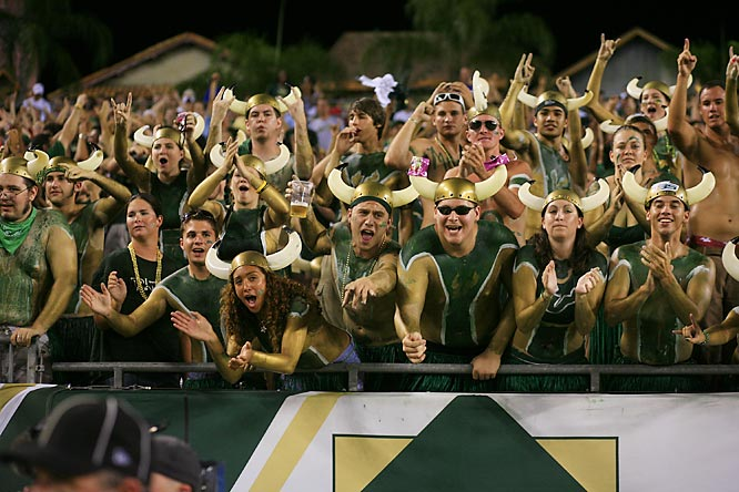 South Florida fans put on their game faces during the Bulls' 28-13 win over Elon College.