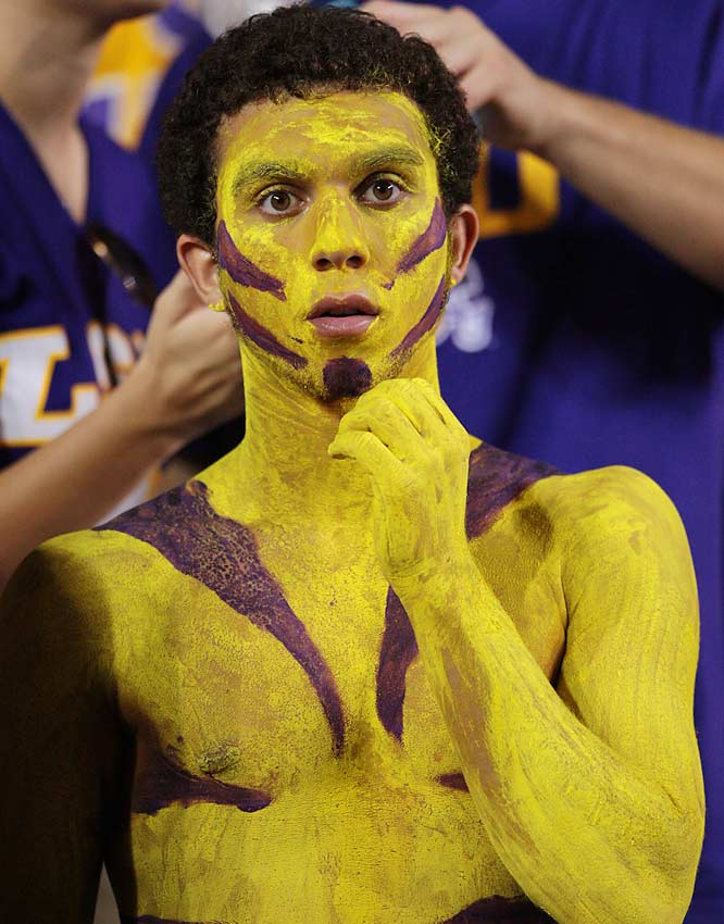 This LSU fan looks more like a deer in headlights than a Tiger.