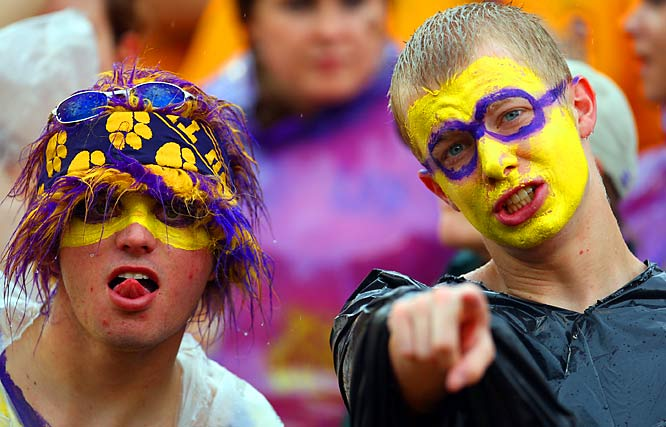 These LSU fans don face paint and some type of weird wig for the Tigers matchup against South Carolina last weekend.