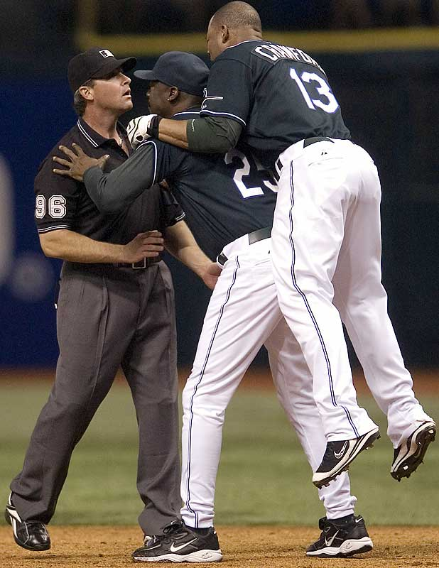 Devil Rays outfielder Carl Crawford picks an inappropriate time to start playing leapfrog.