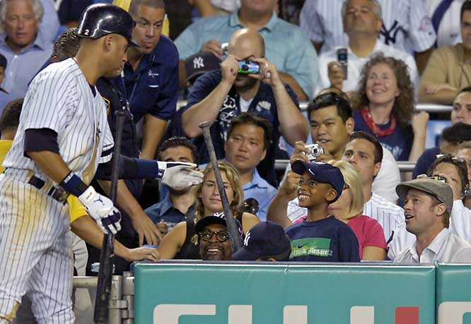 Who seems more enamored with with Derek Jeter? Spike Lee, Spike's son Jackson (in the middle), or Brad Pitt?