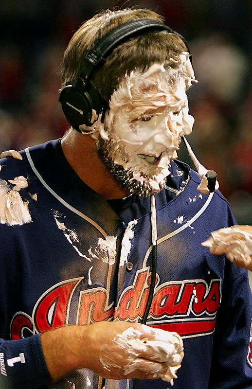 "Casey Blake finds out that the old ""pie in the face"" trick never gets old."
