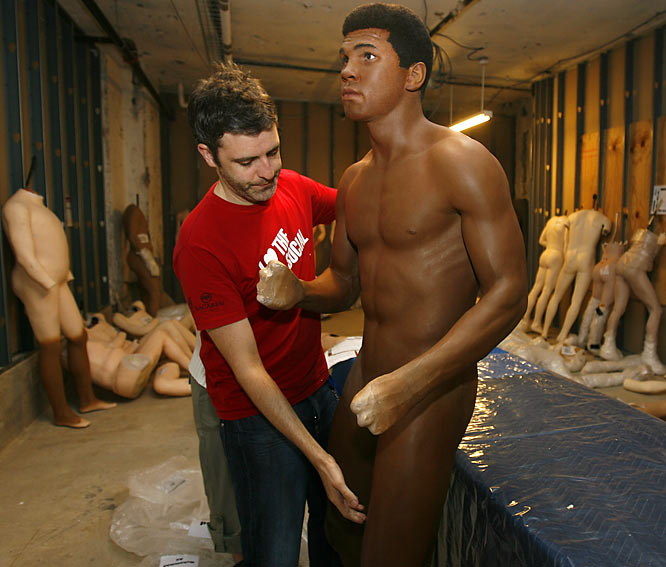 You're probably focused on the fact that Muhammad Ali's wax figure is naked, but we can't get over those hands.