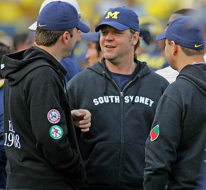 Despite Michigan's terrible start, Russell Crowe still showed his support on the sidelines last Saturday.