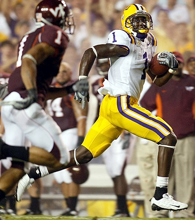 Wide receiver Brandon LaFell caught seven passes as the Tigers easily rolled past Virginia Tech at Tiger Stadium.