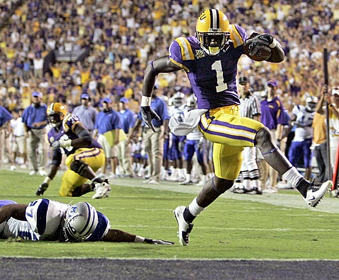 LSU wide receiver Brandon LaFell highsteps into the end zone on an 18-yard reverse. The Tigers have outscored their three opponents this season 137-7.
