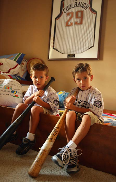 Joseph and Jacob may one day try to follow in their father's footsteps and make it to the majors.