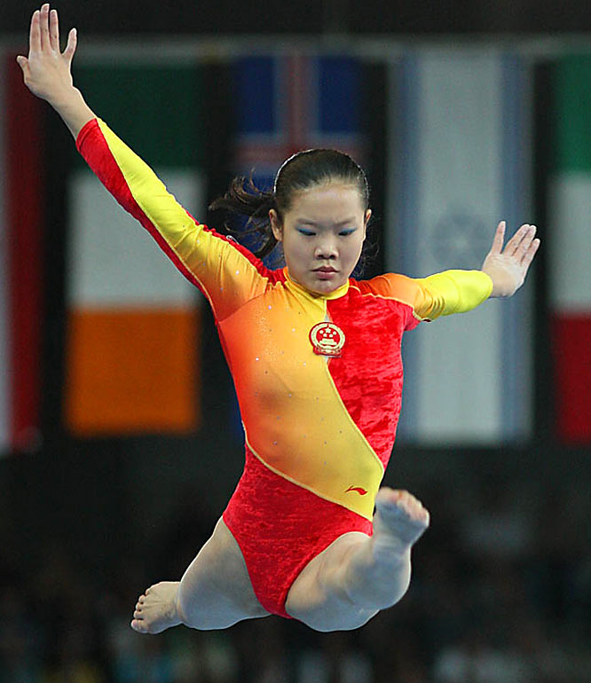 China's Cheng Fei's first-place finish in the beam event pulled her team ahead of the United States after that event.