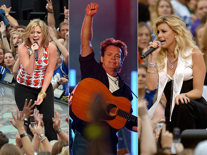 Grammy award winners Kelly Clarkson, John Mellencamp and Faith Hill provided the pregame entertainment.